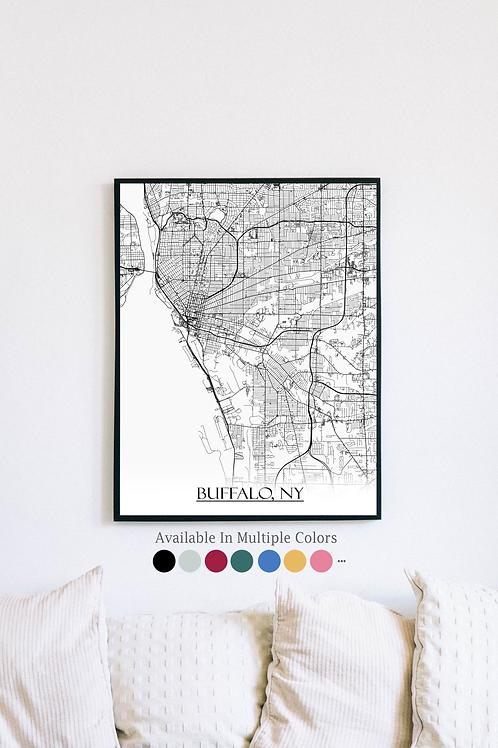 Print of Buffalo, NY and all its roads