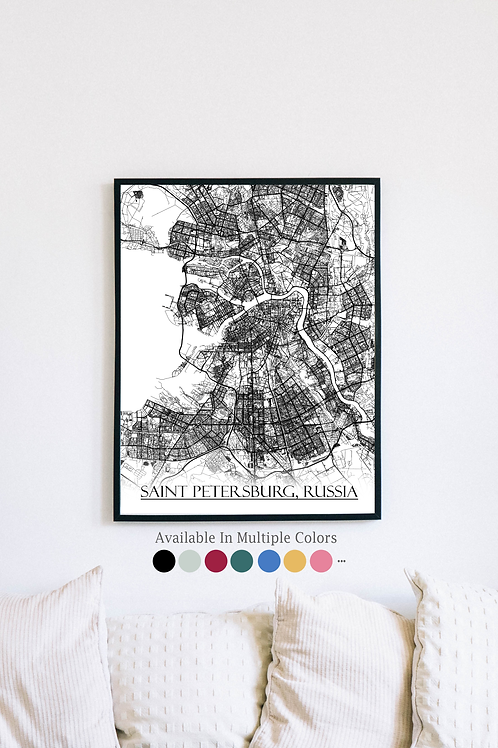 Print of Saint Petersburg, Russia and all its roads