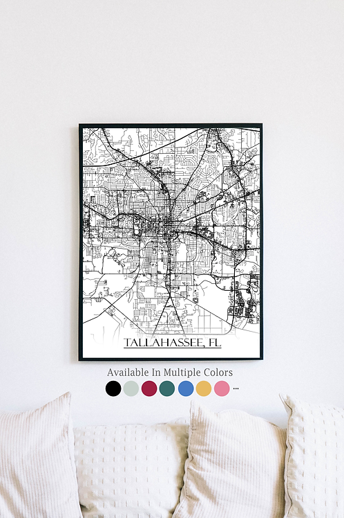 Print of Tallahassee, FL and all its roads