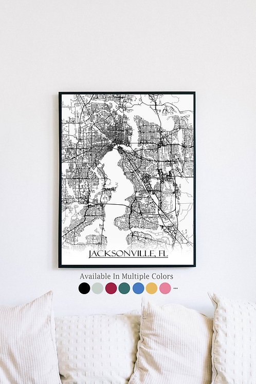 Print of Jacksonville, FL and all its roads