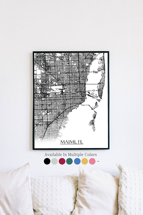Print of Miami, FL and all its roads