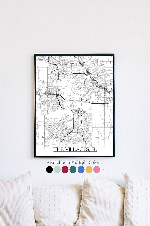 Print of The Villages, FL and all its roads