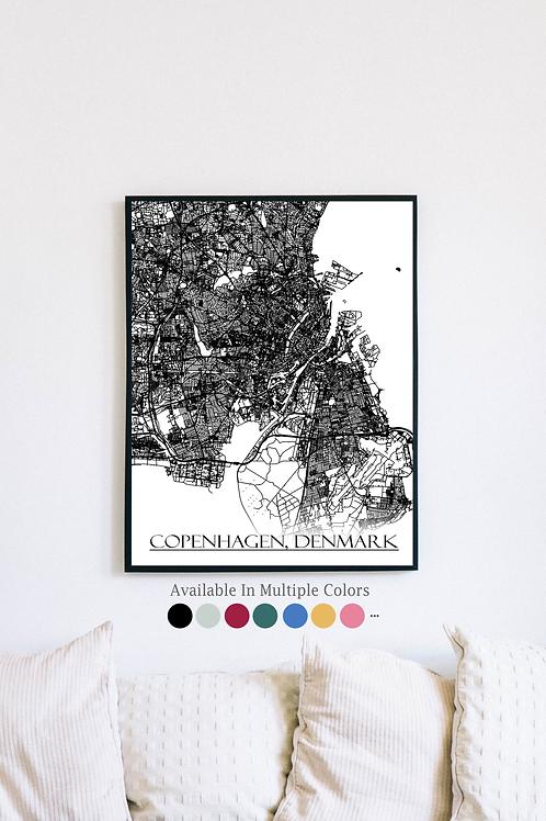 Print of Copenhagen, Denmark and all its roads