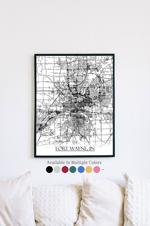 Print of Fort Wayne, IN and all its roads