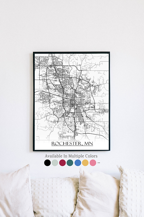 Print of Rochester, NY and all its roads