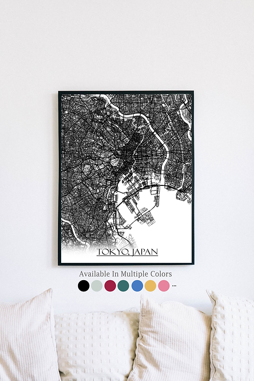 Print of Tokyo, Japan and all its roads