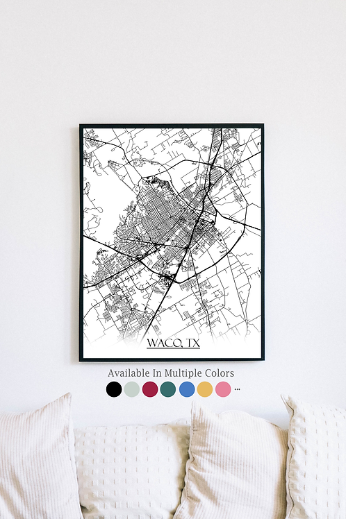 Print of Waco, TX and all its roads
