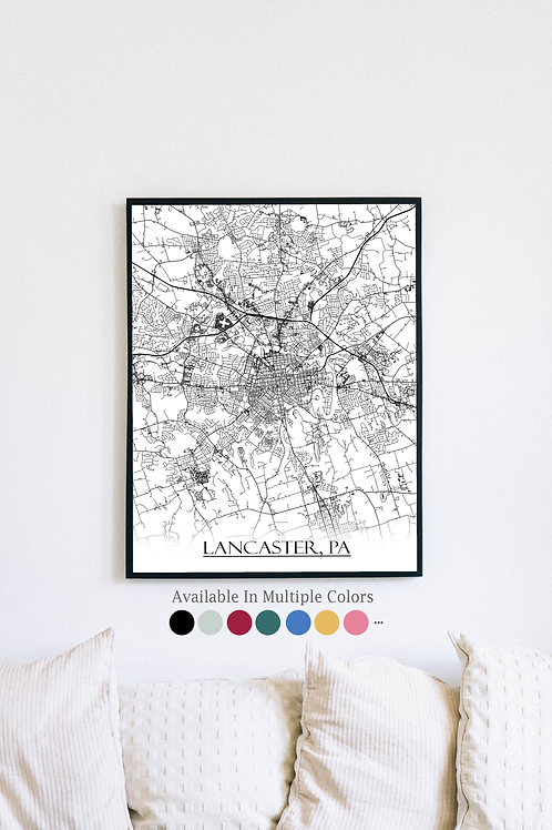 Print of Lancaster, PA and all its roads