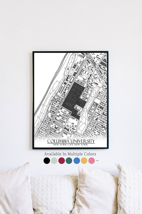 Print of Columbia University and all its roads
