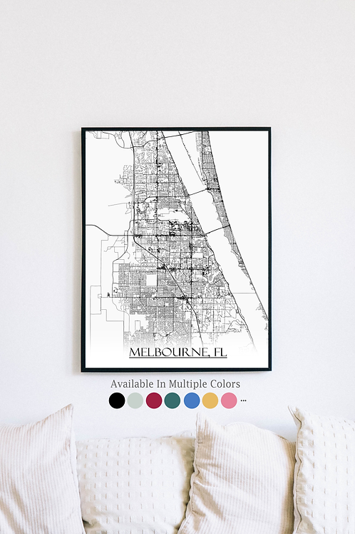Print of Melbourne, FL and all its roads