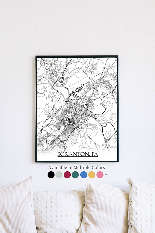 Print of Scranton, PA and all its roads