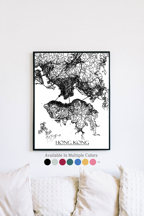 Print of Hong Kong and all its roads