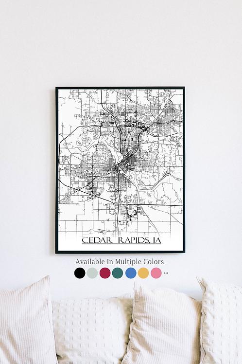Print of Cedar Rapids, IA and all its roads