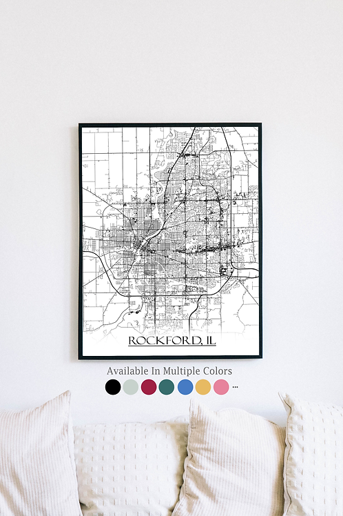 Print of Rockford, IL and all its roads