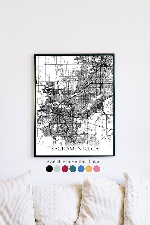 Print of Sacramento, CA and all its roads