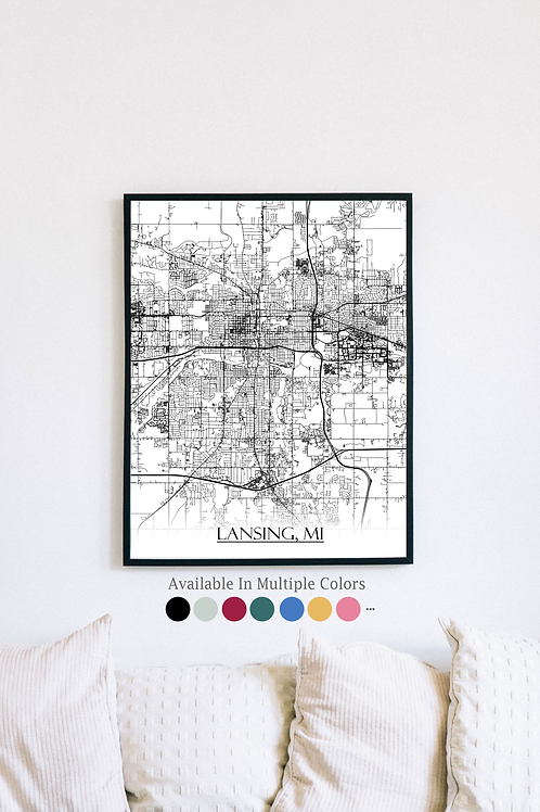 Print of Lansing, MI and all its roads