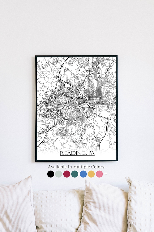 Print of Reading, PA and all its roads