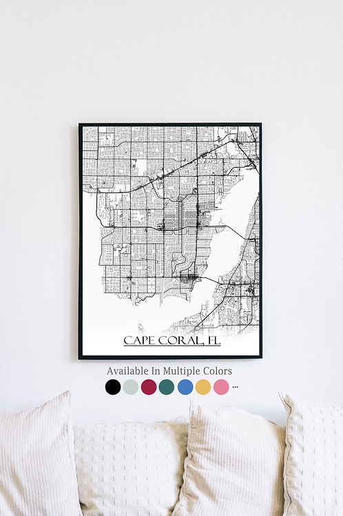 Print of Cape Coral, FL and all its roads