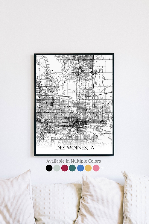 Print of Des Moines, IA and all its roads