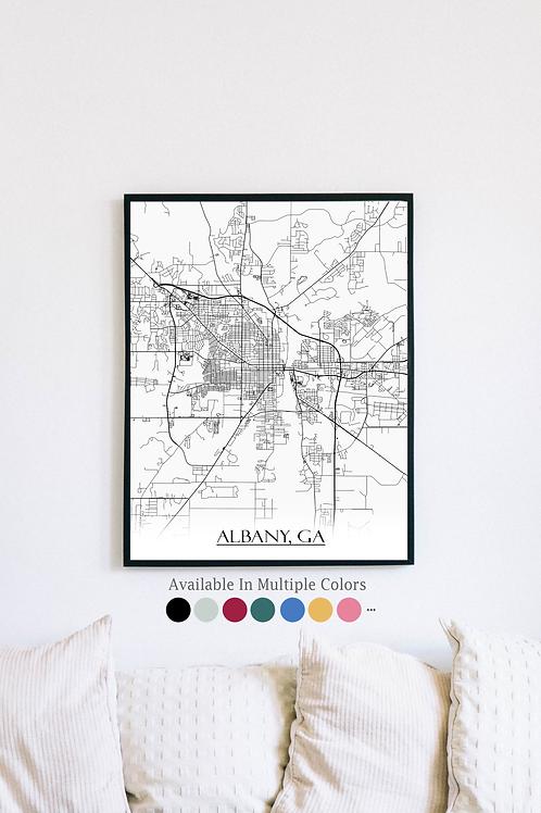 Print of Albany, GA and all its roads