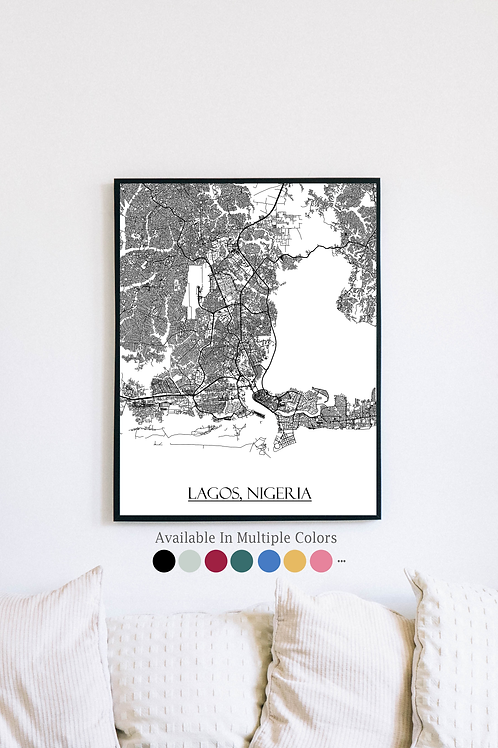 Print of Lagos, Nigeria and all its roads