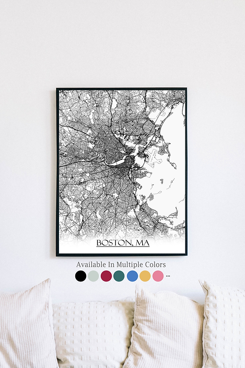 Print of Boston, MA and all its roads