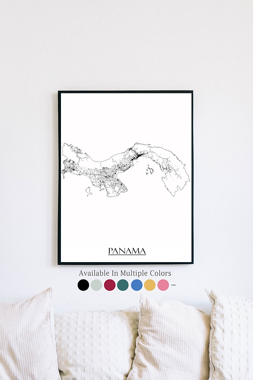 Print of Panama and all its roads