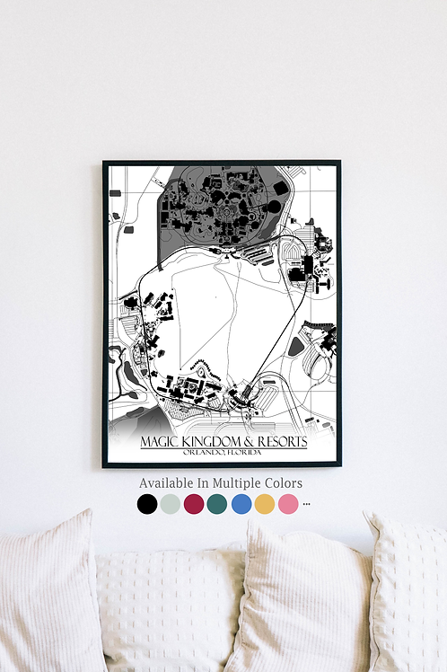 Print of Magic Kingdom & Resorts and all its roads