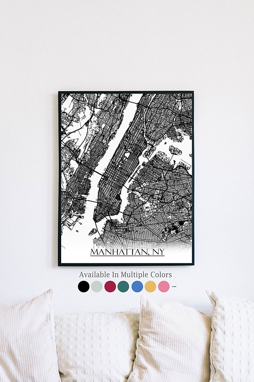 Print of Manhattan, NY and all its roads