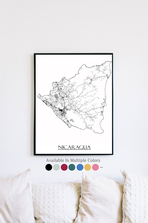 Print of Nicaragua and all its roads