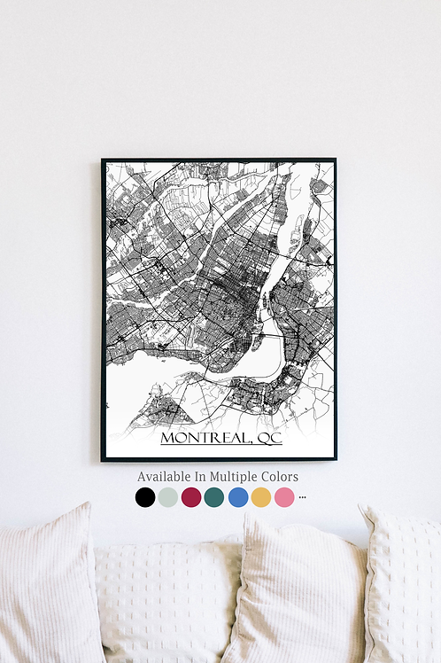 Print of Montreal and all its roads