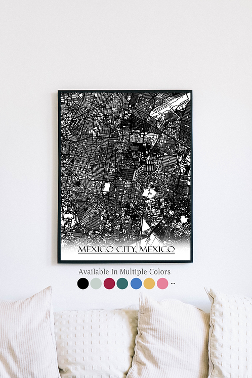 Print of Mexico City, Mexico and all its roads