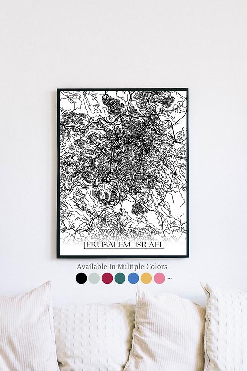 Print of Jerusalem, Israel and all its roads