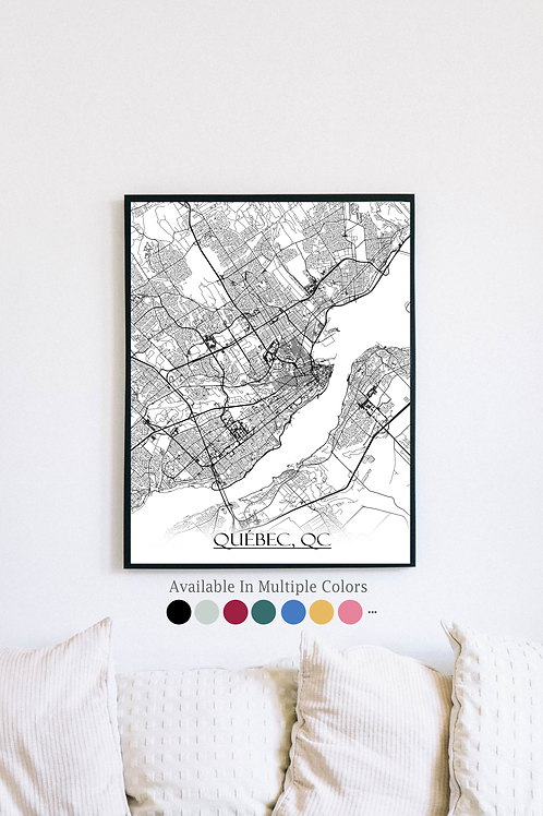 Print of Quebec and all its roads