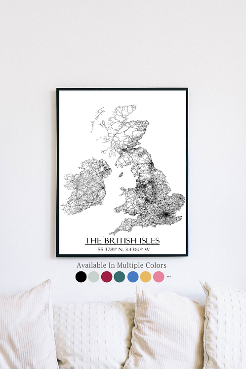 Print of The British Isles and all its roads
