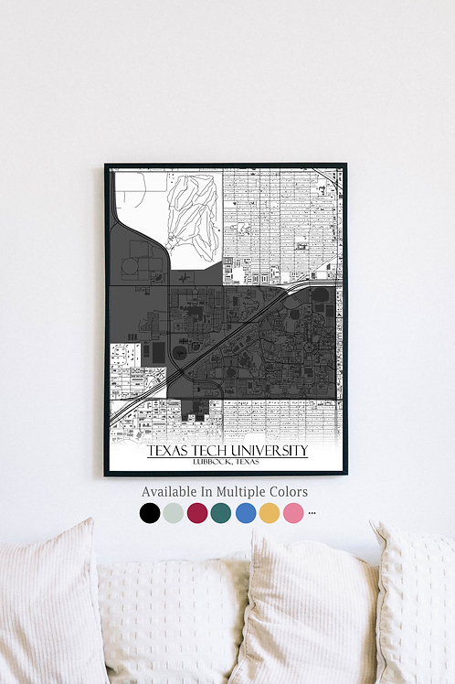 Print of Texas Tech University and all its roads