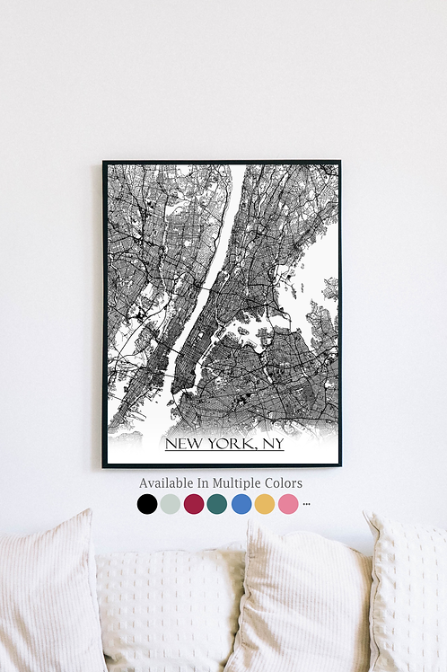 Print of New York, NY and all its roads
