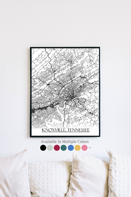 Print of Knoxville, TN and all its roads