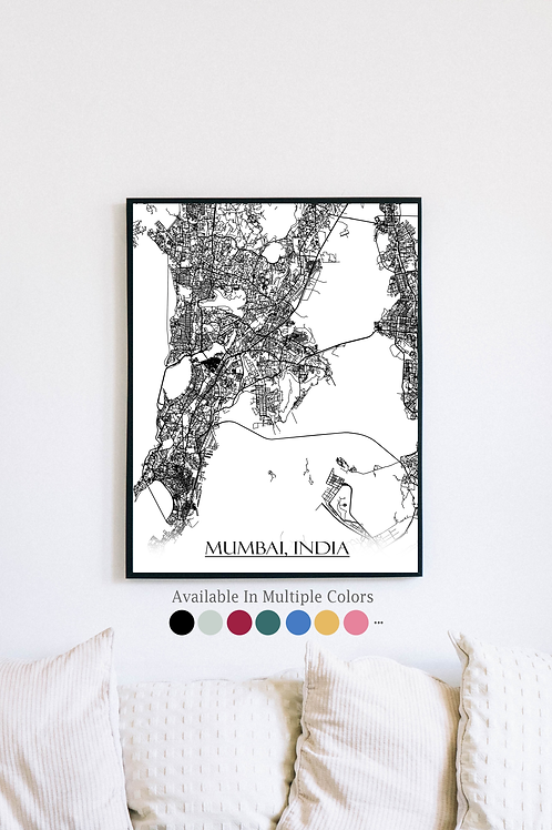 Print of Mumbai, India and all its roads