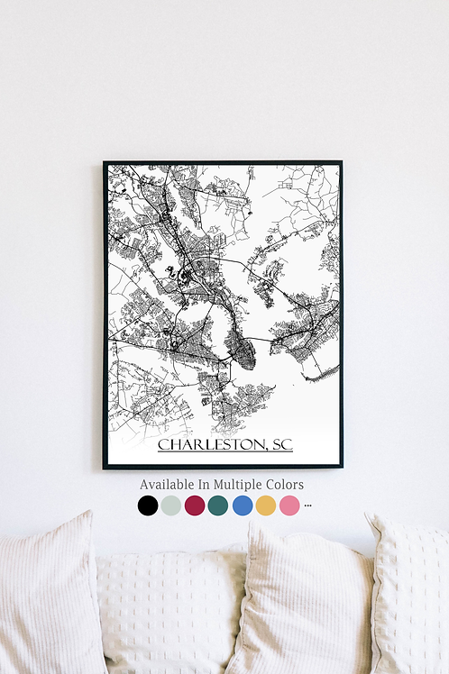 Print of Charleston, SC and all its roads