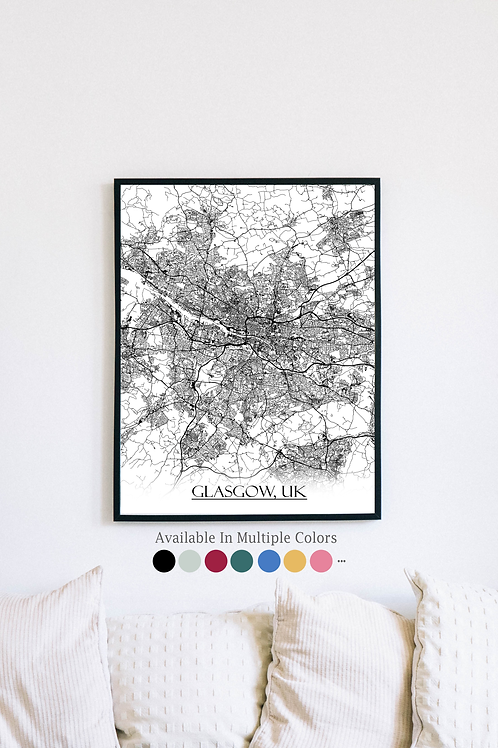 Print of Glasgow, UK and all its roads