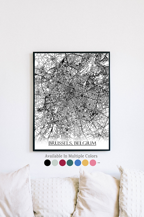 Print of Brussels, Belgium and all its roads