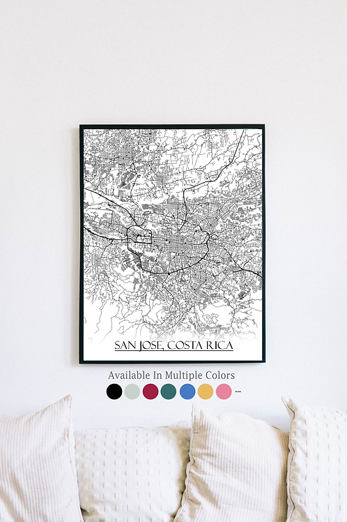 Print of San Jose, Costa Rica and all its roads