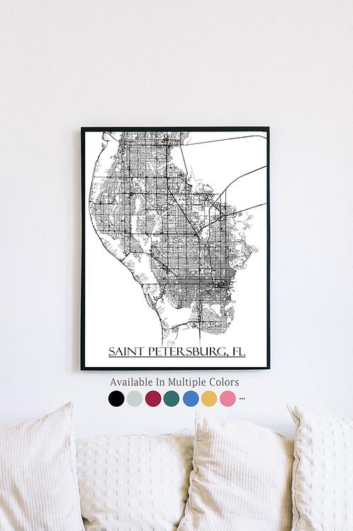 Print of Saint Petersburg, FL and all its roads