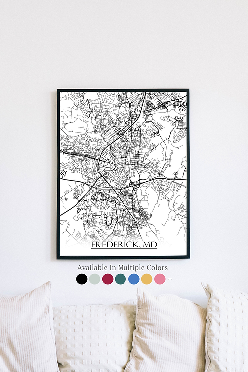 Print of Frederick, MD and all its roads