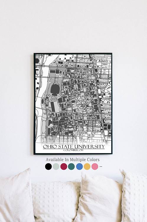 Print of Ohio State University and all its roads
