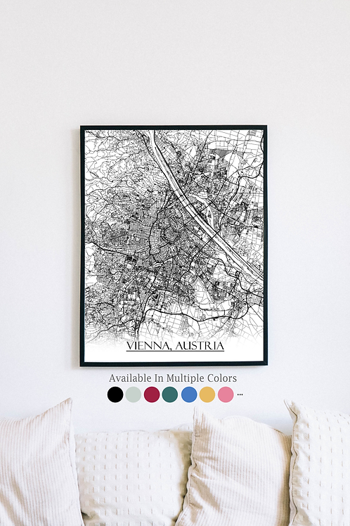 Print of Vienna, Austria and all its roads