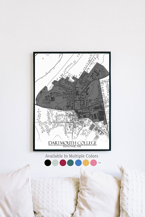 Print of Dartmouth College and all its roads
