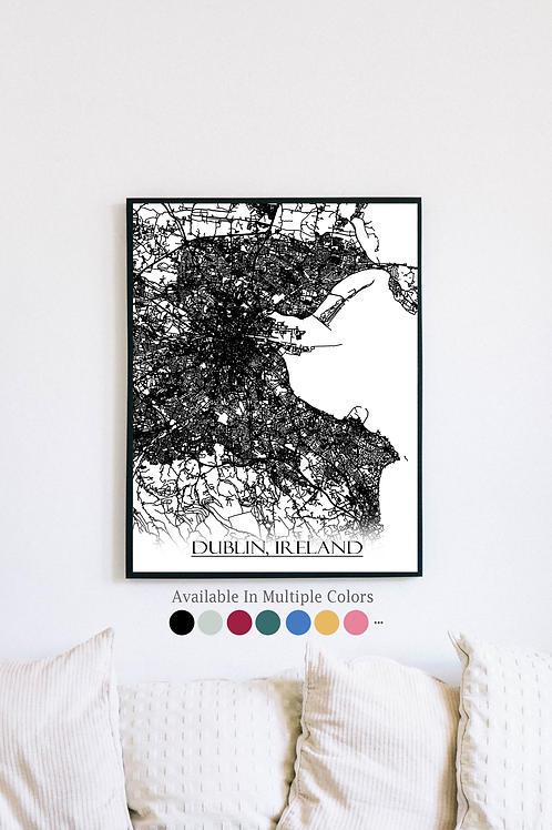 Print of Dublin, Ireland and all its roads