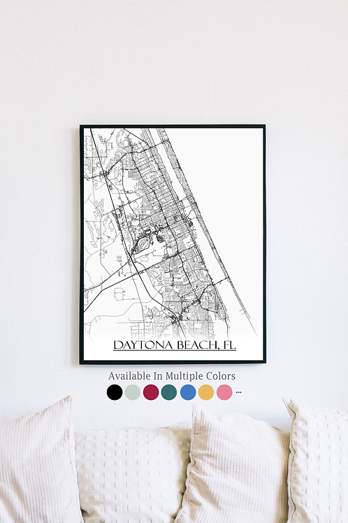 Print of Daytona Beach, FL and all its roads